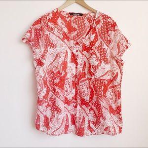 lightweight 100% cotton paisley style print blouse